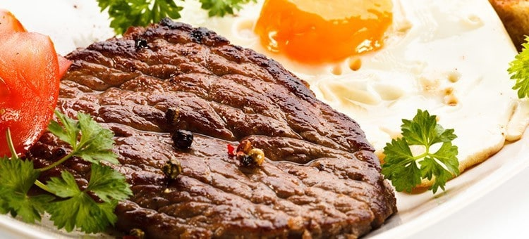 Mexican eggs and steak.