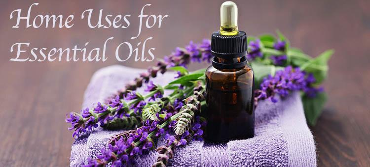 """A small bottle of lavender essential oil next to some lavender with the title """"Home Uses for Essential Oils"""""""