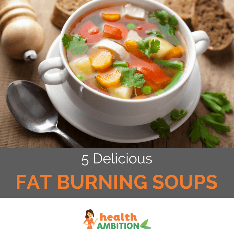 "A cuop of tastefully presented vegetable soup with the title ""5 Delicious Fat Burning Soups."""