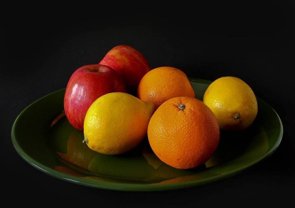 A plate of fruit.