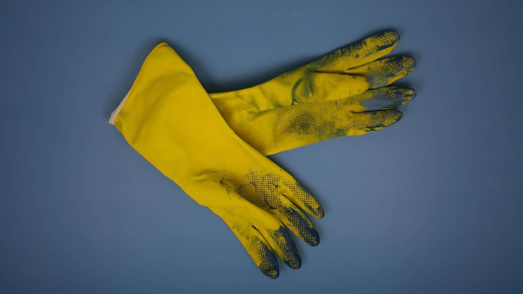 Dirty rubber gloves.