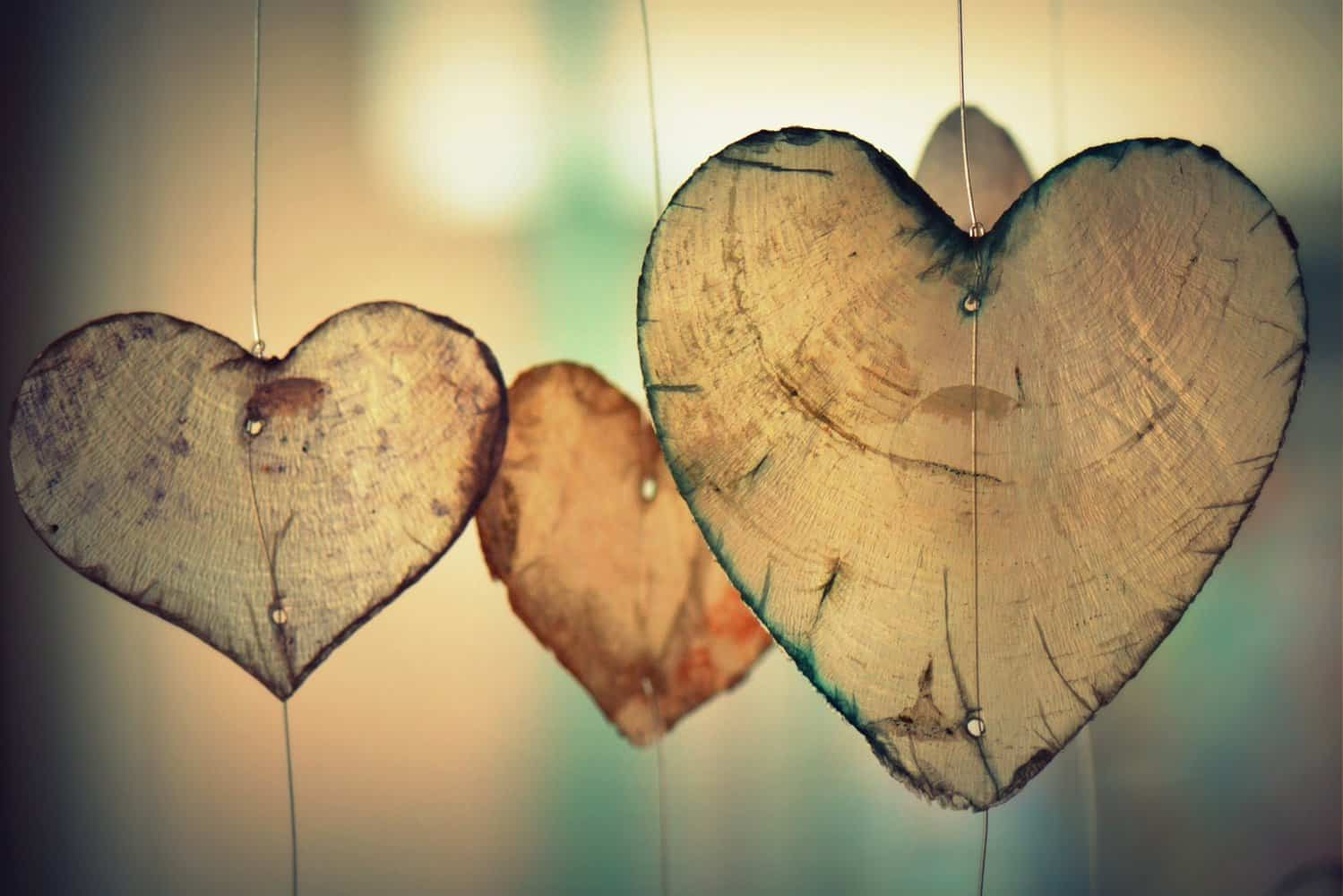 Heart-shaped decorations.