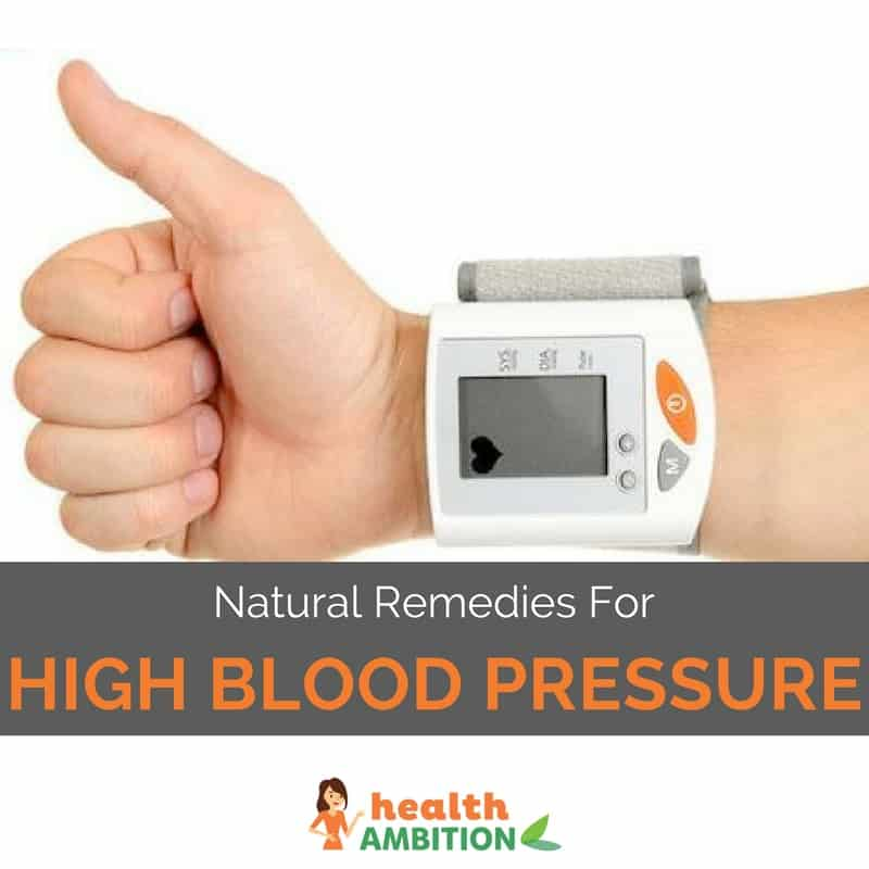 "A person holding a thumbs up with a blood pressure measurement device and the title ""Natural Remedies For High Blood Pressure."""