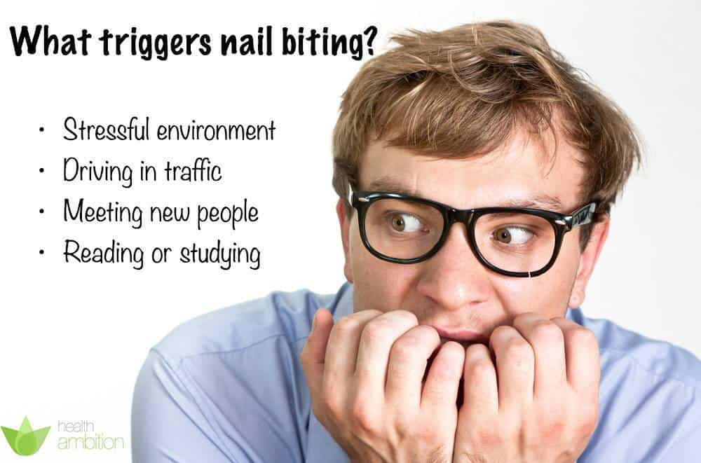 An image showing a list of what triggers nail biting.