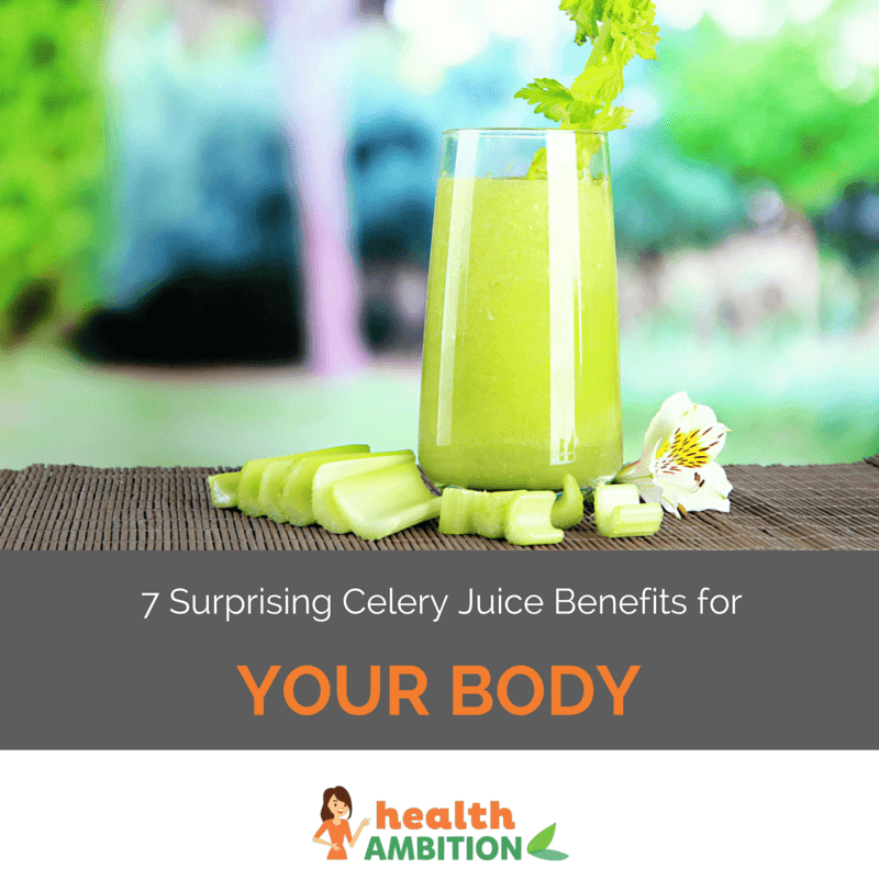 "A glass of celery juice next to celery pieces with the title ""7 Surprising Celery Juice Benefits for Your Body."""