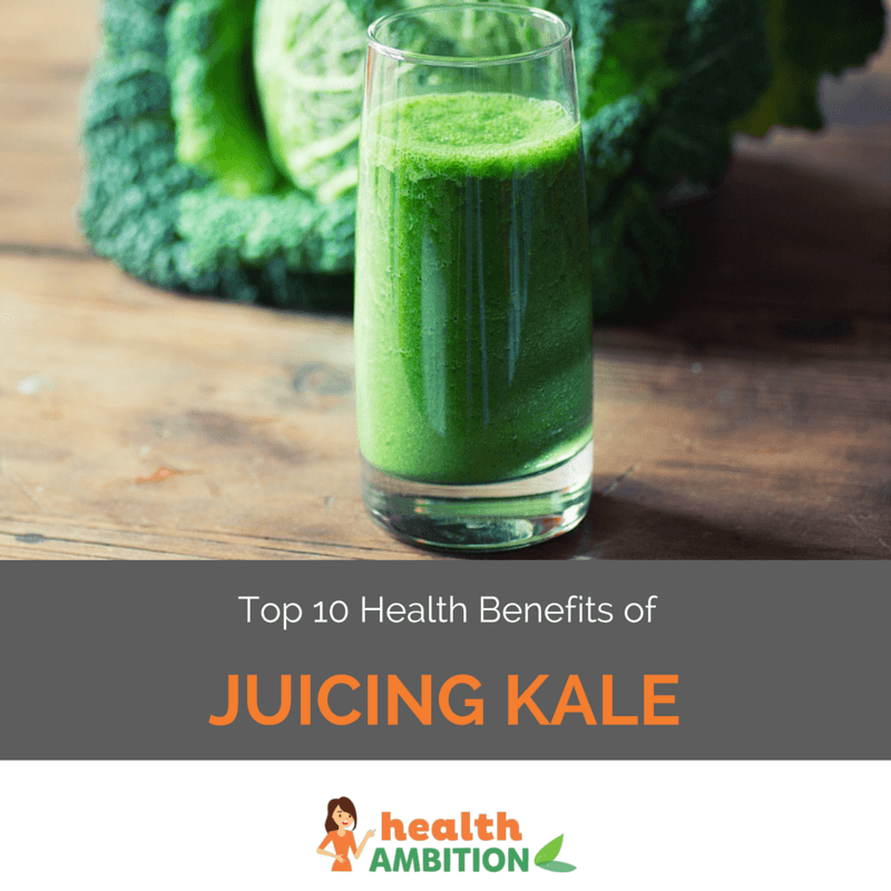 "A glass of kale juice with the title ""Top 10 Health Benefits of Juicing Kale."""