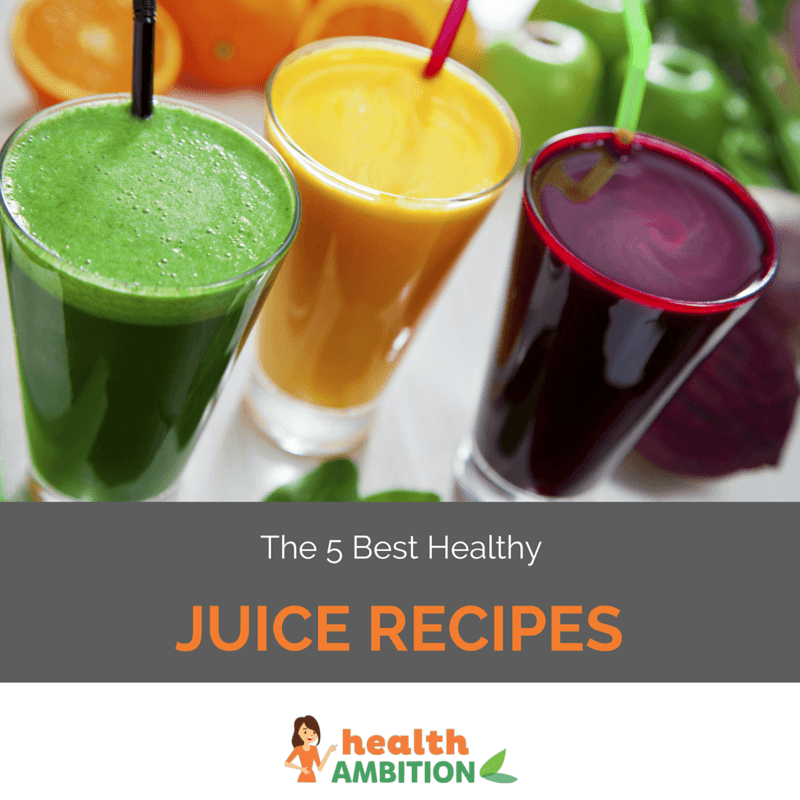 "Glasses of fruit and vegetable juice with the title ""The 5 Best Healthy Juice Recipes."""