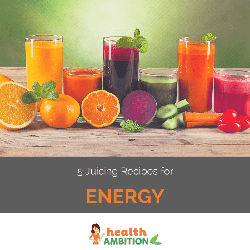 "Glasses of various colored juices with the title ""5 Juicing Recipes for Energy."""