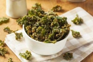 A bowl of kale chips.