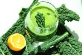 A glass of kale smoothie.