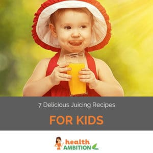 "A young child enjoying fresh juice in the sunshine with the title ""7 Delicious Juicing Recipes for Kids."""