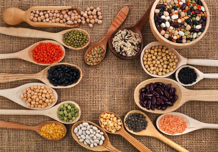 Various spoonfuls of legumes and beans.