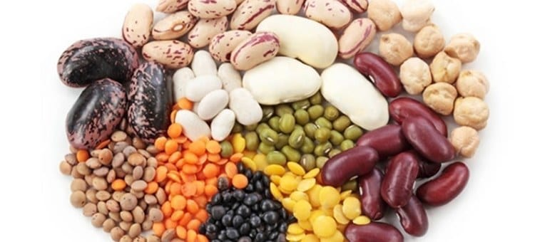 A large pile of various legumes.
