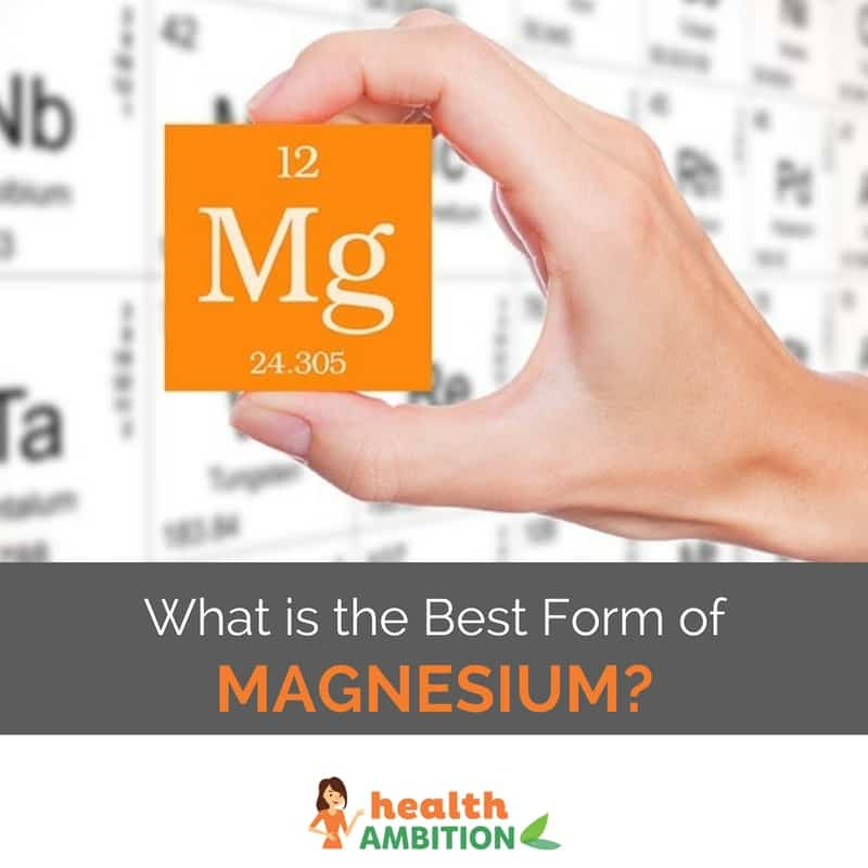 "A hand holding the magnesiu melemtn from the preiodic table with the title ""What is the Best Form of Magnesium?"""