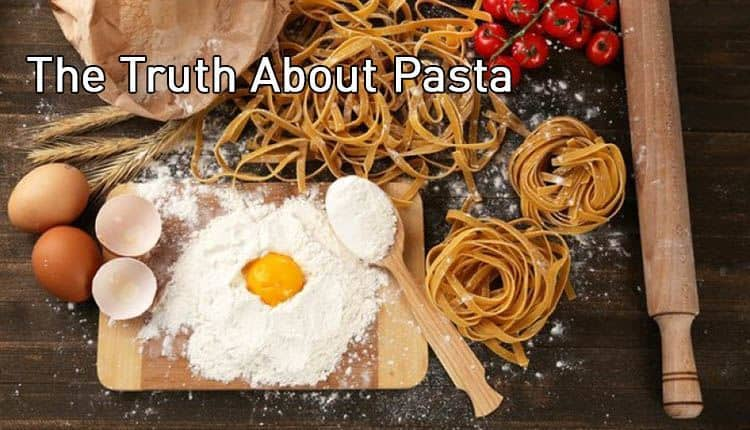 "Egg yolk, flour, and pasta with the title ""The Truth About Pasta."""