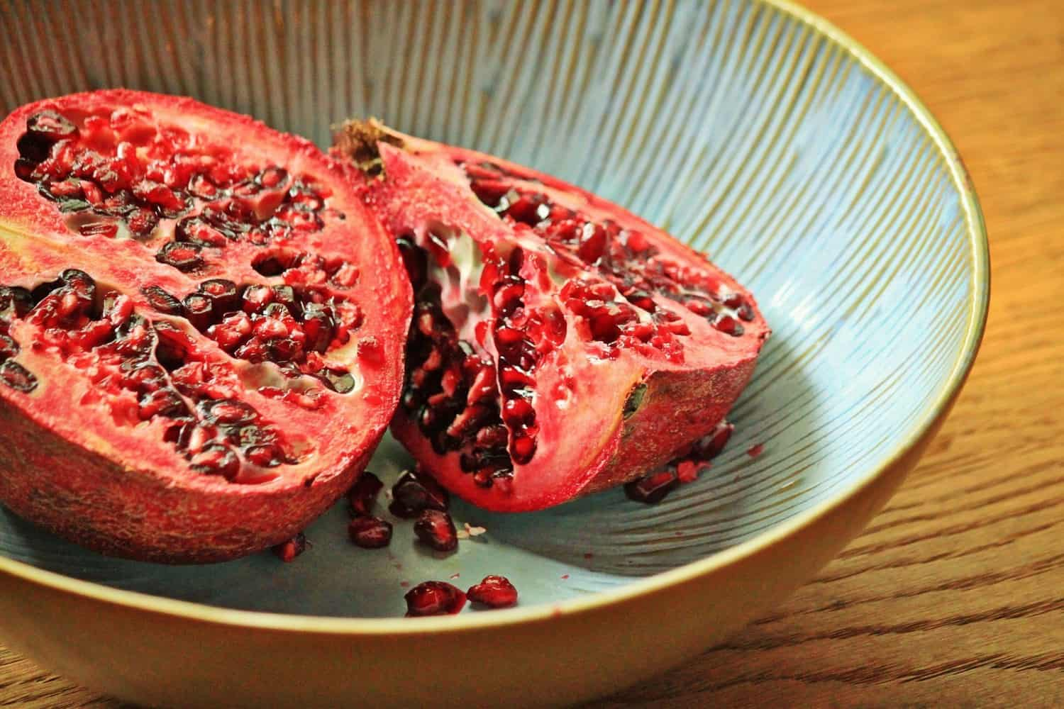Halved pomegranate.