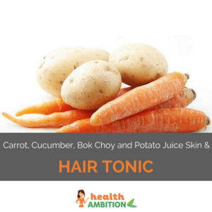 "Three potatos on four carrots with the title ""Carrot, Cucumber, Bok Choy and Potato Juice Skin and Hair Tonic."""