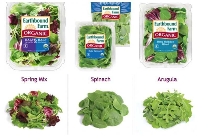 Pre-washed organic leafy greens with and without their packaging.