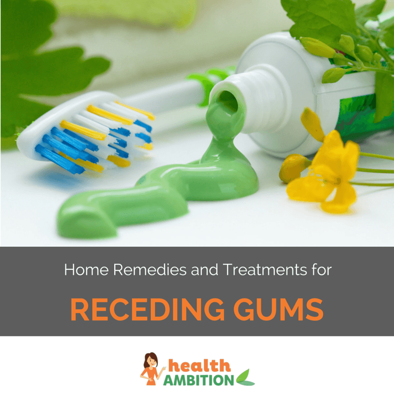 """Toothpaste from a toothpaste tube on a surface next to a toothbrush with the title """"Home Remedies and Treatments for Receding Gums"""""""