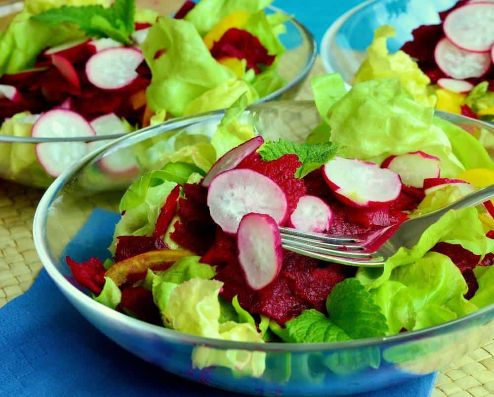 A bowl of salad with radishes.
