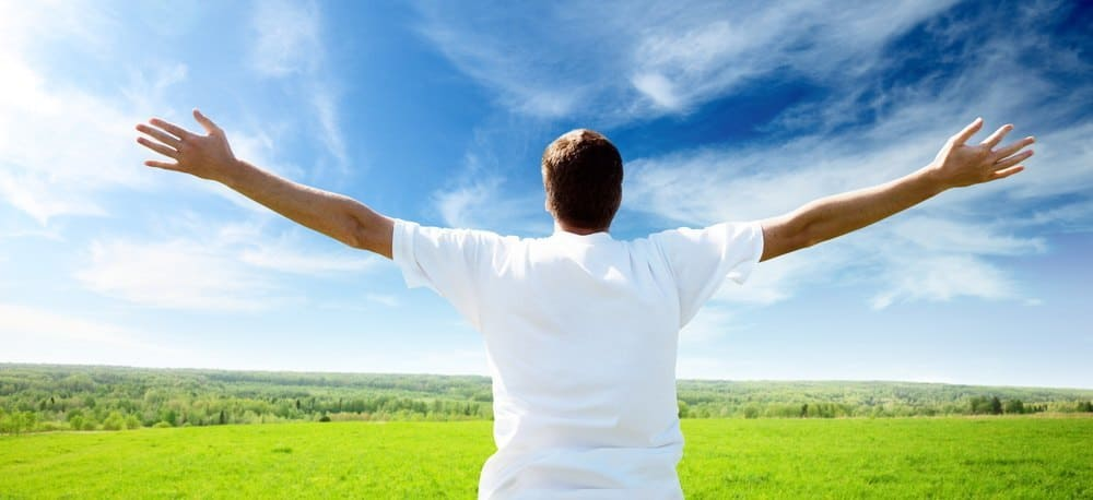 A person cheering at the sky on a beautiful green plain.