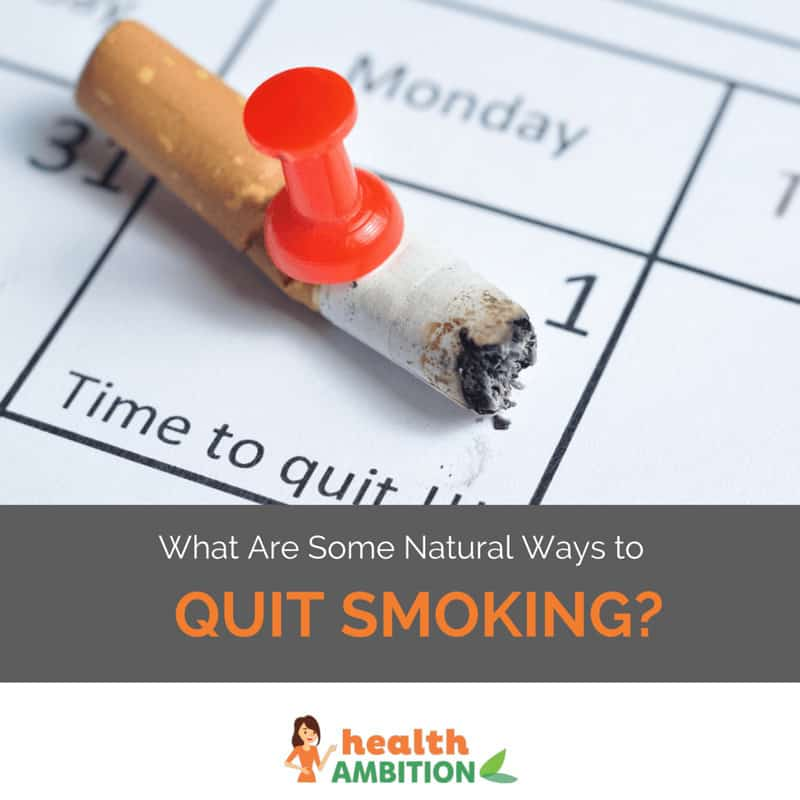 "A cigarette on a calendar with the title ""What are some Natural Ways to Quit Smoking"""