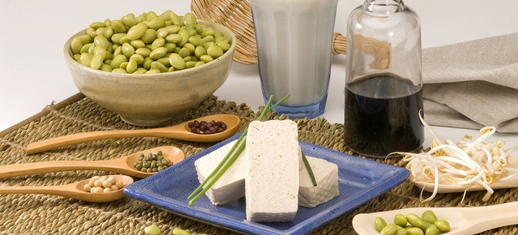 Various soy products and soybeans.