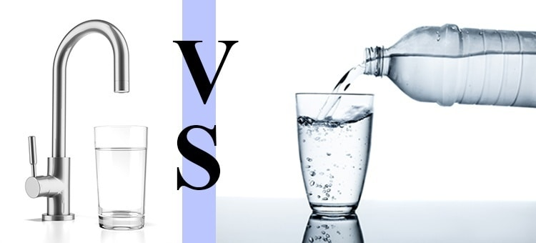 "A glass of water next to a faucet, the phrase ""VS"" and water being poured out of a bottle into a glass."