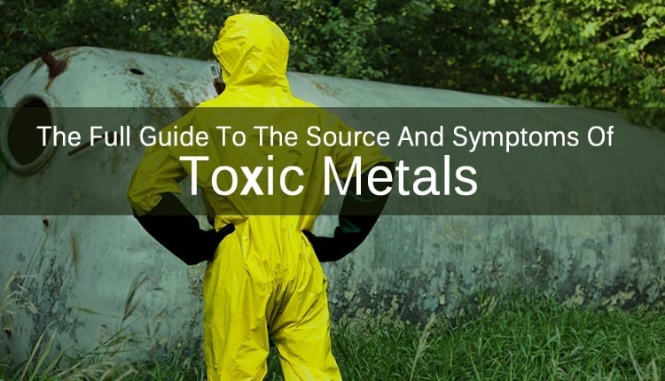 "A person in a hazmat suit looking at a container with the title ""The Full Guide To The Source And Symptoms Of Toxic Metals."""