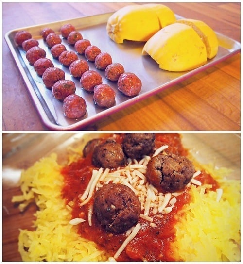 Spaghetti Squash with low calorie meatballs.