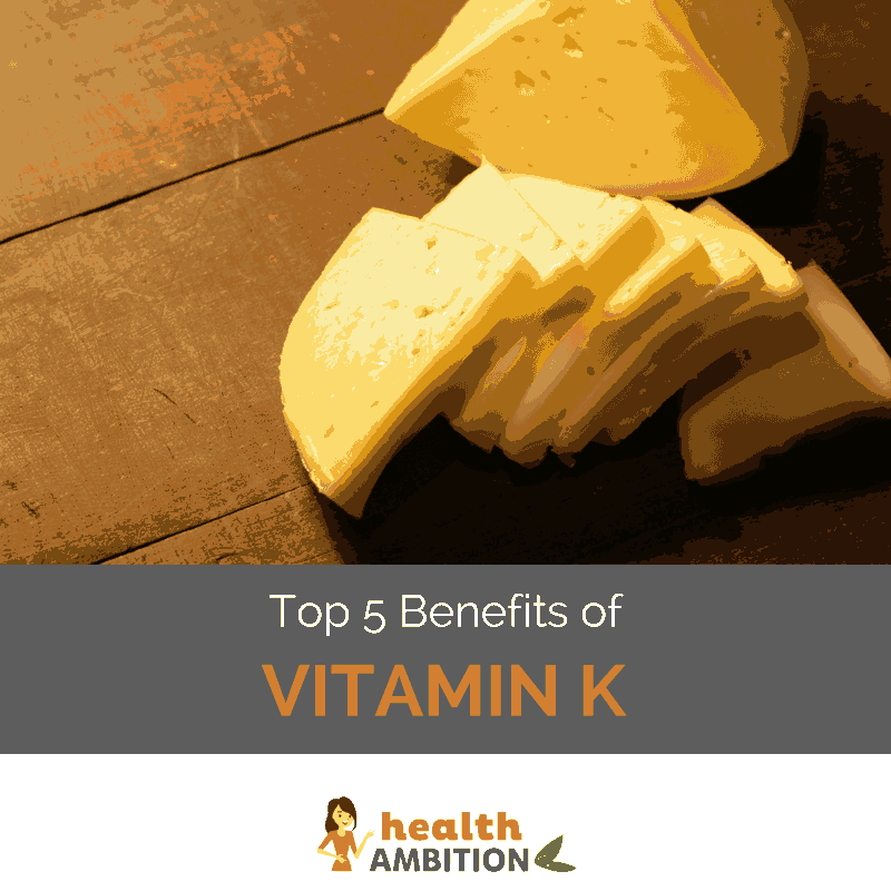 "Slices of cheese with the title ""Top 5 Benefits of Vitamin K."""