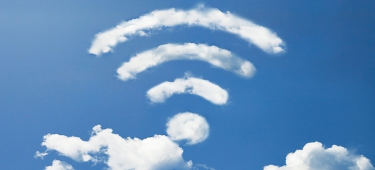 Clouds forming the shape of a WiFi signal.