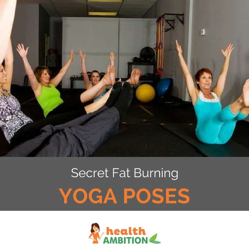 "Older women performing yoga exercises in a gym with the title ""Secret Fat Burning Yoga Poses"""