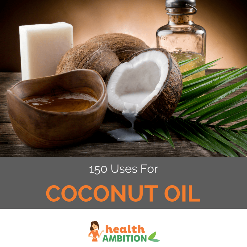 "Coconut oil with the title ""150 Uses For Coconut Oil"""