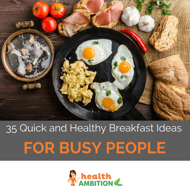 "cooked and scrambled eggs in a pan with vegetables with the title ""35 Quick and Healthy Breakfast Ideas For Busy People"""