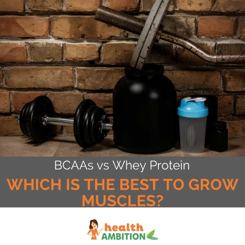 "Protein powder and dumbbell and a protein shaker with the title ""BCAAs vs Whey Protein, Which is The Best to Grow Muscles?"""