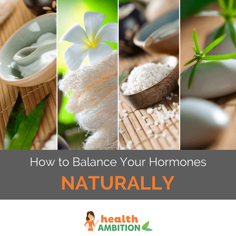 "Images of herbs, spices and other materials with the title ""How to Balance Your Hormones Naturally"""
