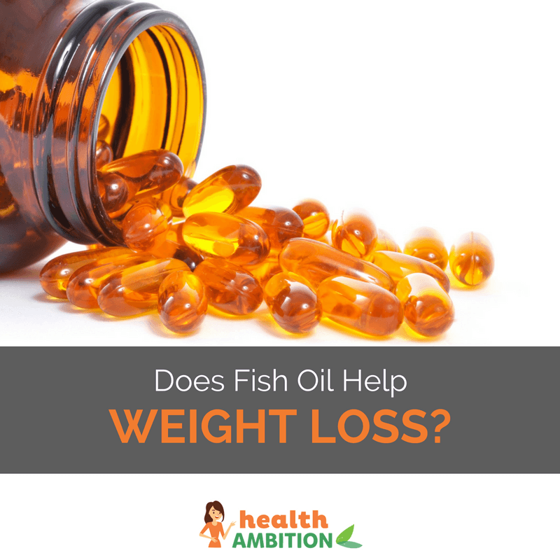 "Fish oil capsules from a bottle with the title ""Does Fish Oil Help Weight Loss?"""