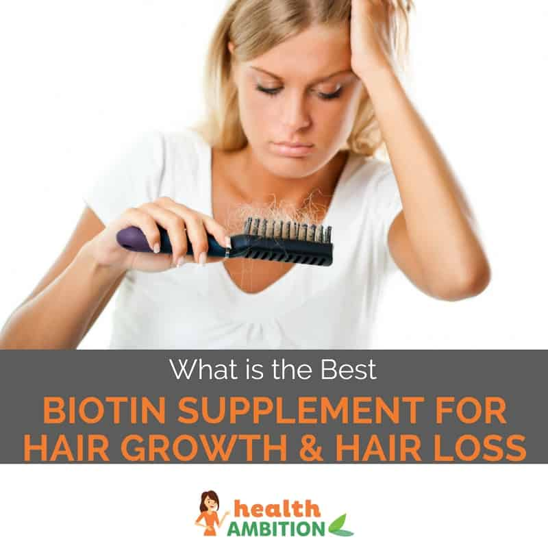 "A woman sadly looking at her comb with the title ""What is the Best Biotin Supplement For Hair Growth & Hair Loss"""