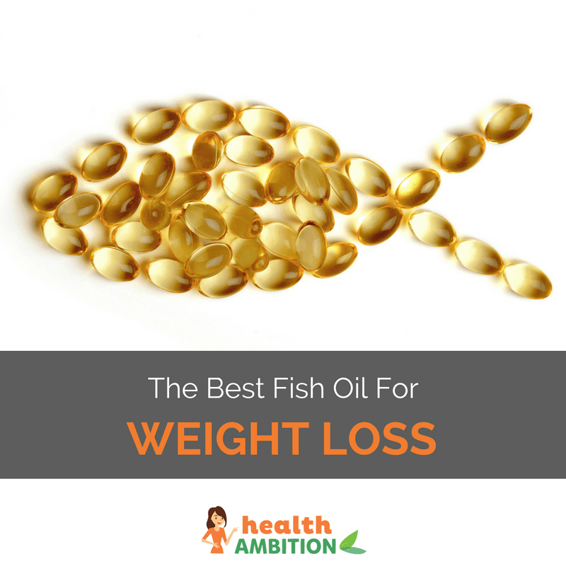 "Fish oil capsules in the shape of a fish with the title ""The Best Fish Oil For Weight Loss"""
