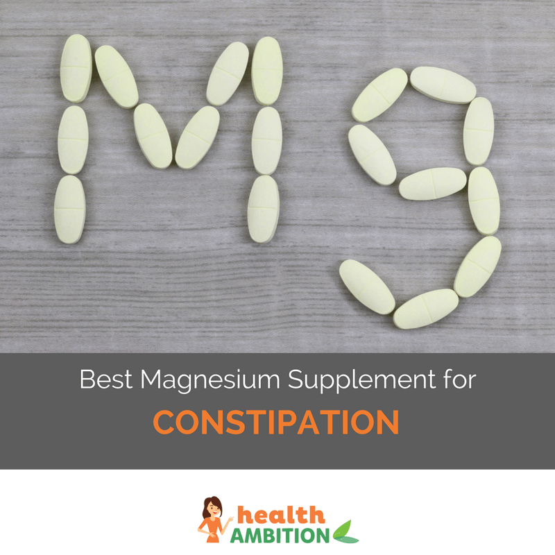"Mg spelled with tablets with the title ""Best Magnesium Supplement for Constipation"""