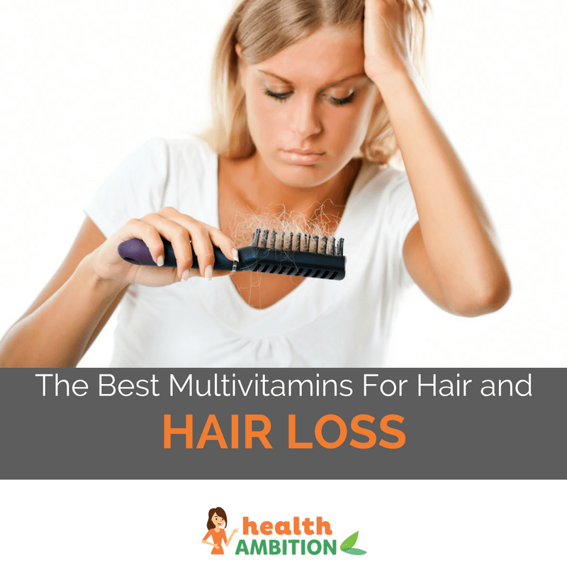 "A frustrated woman looking at her hair in a brush with the title ""The Best Multivitamins For Hair and Hair Loss"""