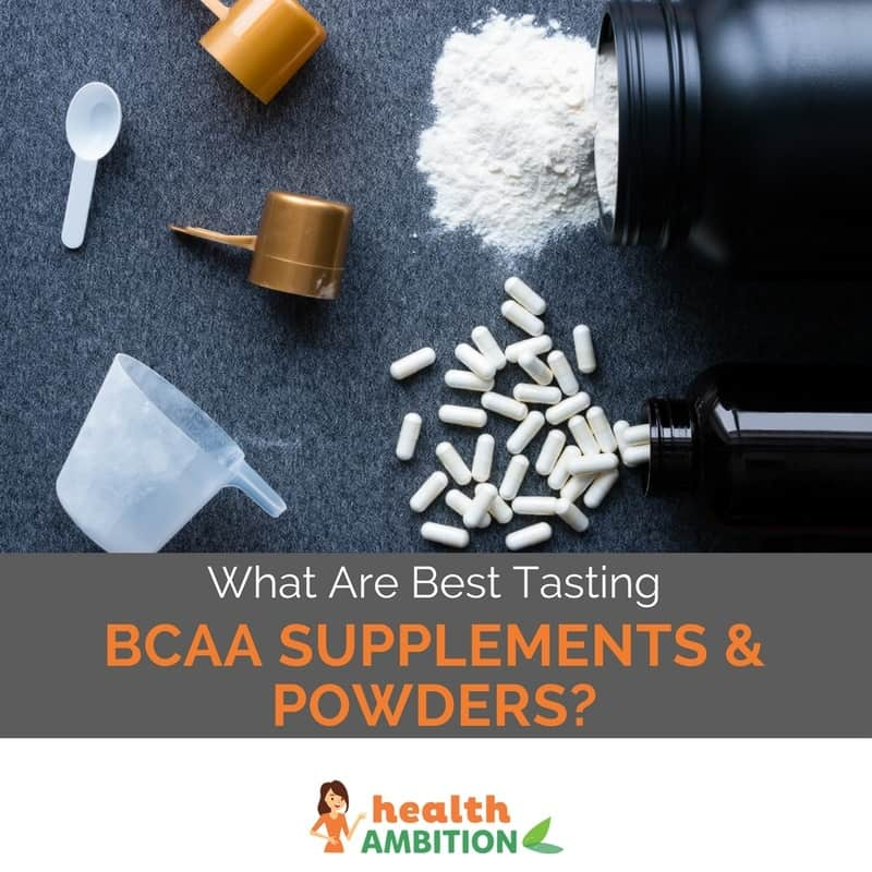 "Powder and tablets with the title ""What Are Best Tasting BCAA Supplements & Powders?"""