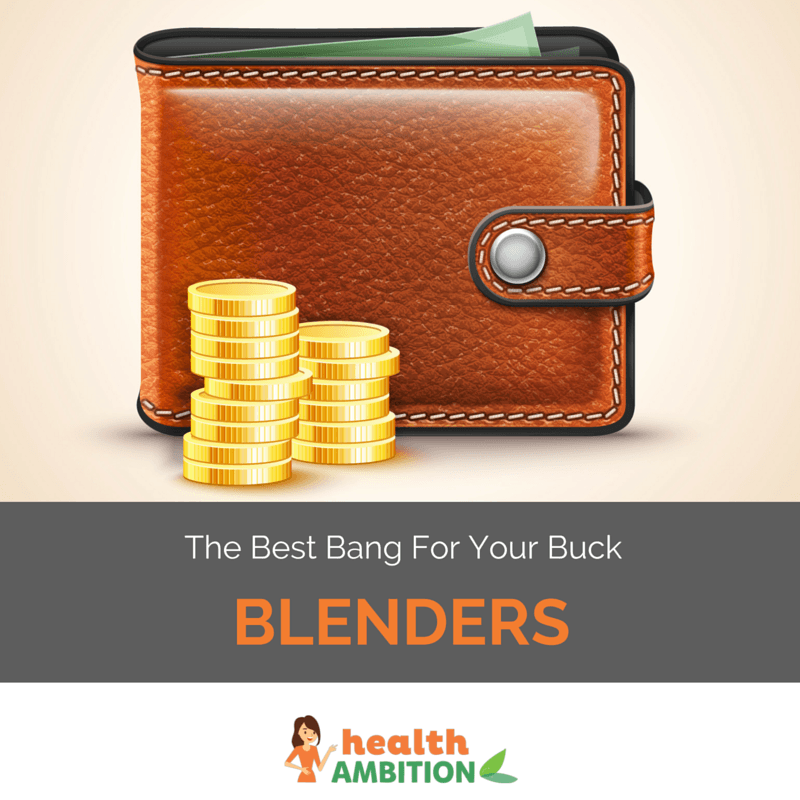 "Graphic of a wallet and some coins with the title ""the Best Bang for Your Buck Blenders"""