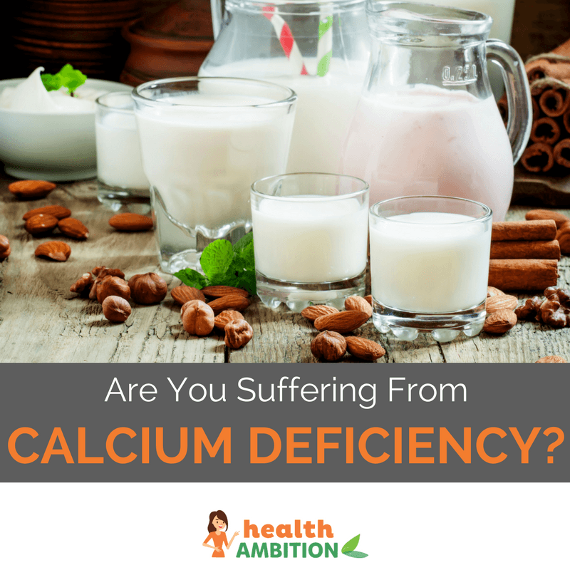 "Various types of milk with the title ""Are You Suffering From Calcium Deficiency?"""