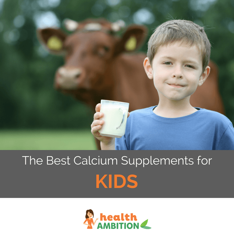 "A child with a glass of milk with a cow in the background with the title ""The Best Calcium Supplements for Kids"""
