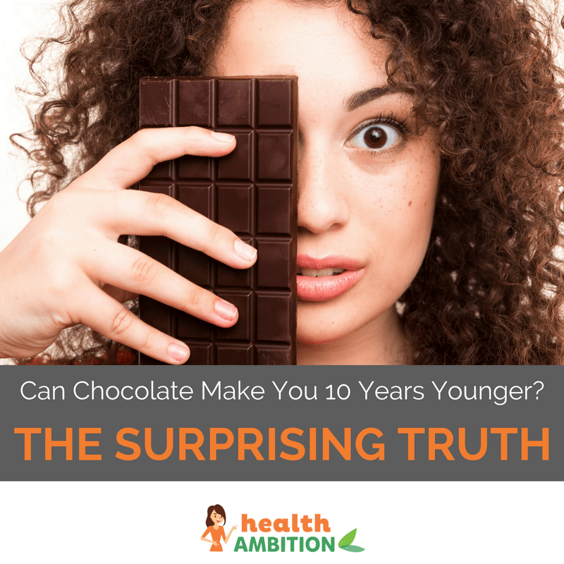 """A woman holding a bar of chocolate to her face with the title """"Can Chocolate Make You 10 Years Younger? The Surprising Truth"""""""