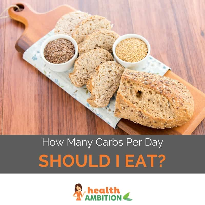 "Bread and seeds with the title ""How Many Carbs Per Day Should I Eat"""