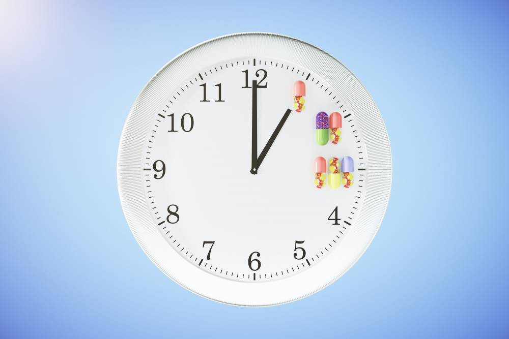 A clock showing when to take supplements.