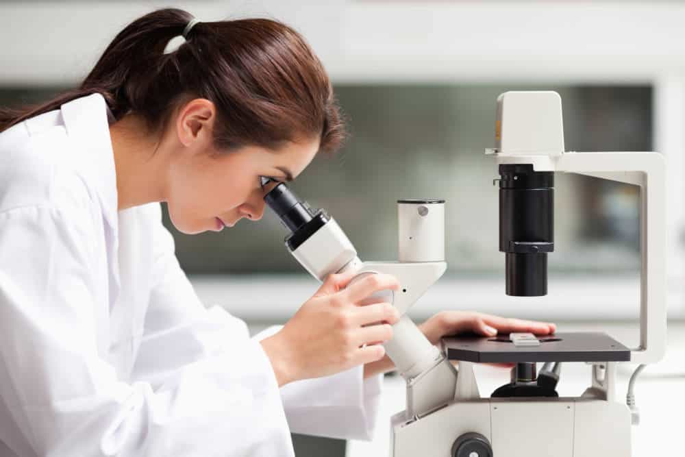 Focused female science student looking in a microscope in a laboratory